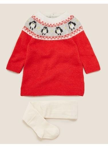 Marks & Spencer Penguen Desenli Elbise ve Külotlu Çorap Takımı Kırmızı